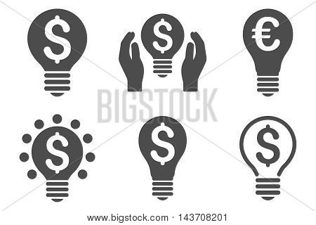 Electric Light Price vector icons. Pictogram style is gray flat icons with rounded angles on a white background.