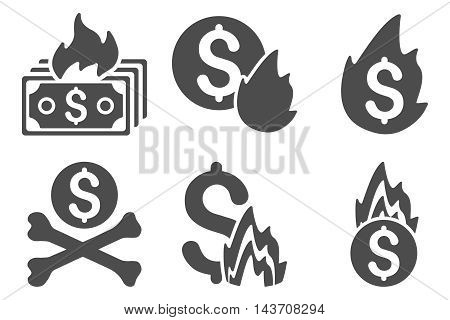 Fire Disaster vector icons. Pictogram style is gray flat icons with rounded angles on a white background.