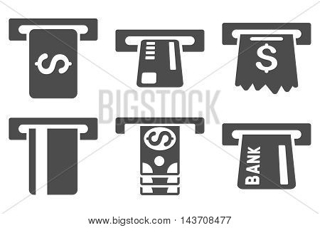 Pay Box vector icons. Pictogram style is gray flat icons with rounded angles on a white background.