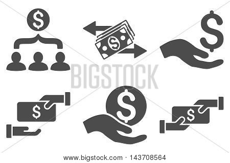 Payment vector icons. Pictogram style is gray flat icons with rounded angles on a white background.