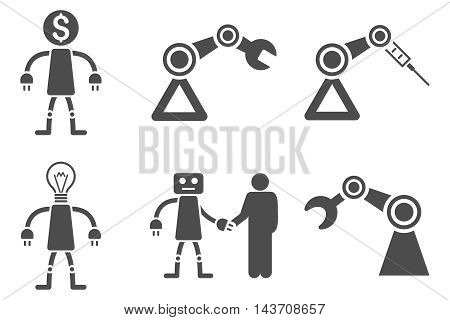 Robot vector icons. Pictogram style is gray flat icons with rounded angles on a white background.