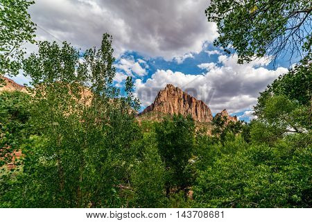 Clouds, Trees and Beautiful Rock Formations in and around Zion National Park Utah.