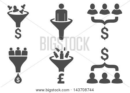 Sales Funnel vector icons. Pictogram style is gray flat icons with rounded angles on a white background.
