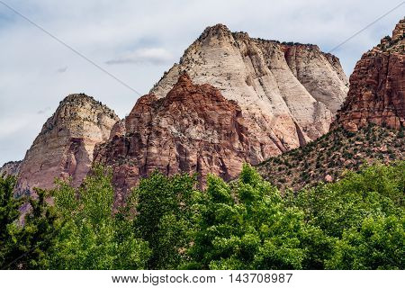 Beautiful Mountain Peaks, Cliffs and Rock Formations in Zion National Park Utah.