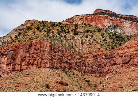 Beautiful Multi-colored Sandstone Cliffs and Rock Formations in Zion National Park Utah.