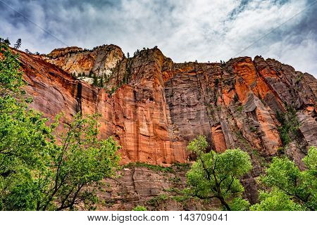 Beautiful Red Sandstone Cliffs and Rock Formations in Zion National Park Utah.