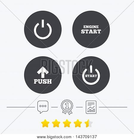 Power icons. Start engine symbol. Push or Press arrow sign. Chat, award medal and report linear icons. Star vote ranking. Vector