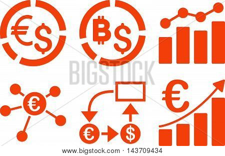 Business Charts vector icons. Pictogram style is orange flat icons with rounded angles on a white background.