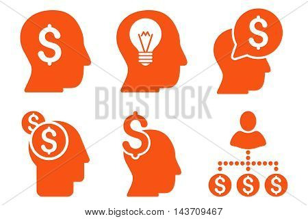 Businessman Idea vector icons. Pictogram style is orange flat icons with rounded angles on a white background.