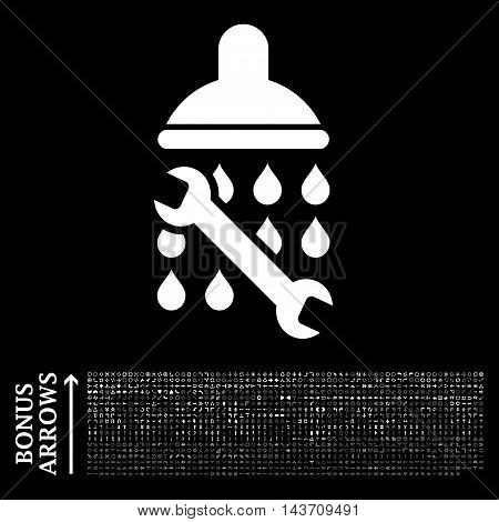 Shower Plumbing icon with 1200 bonus arrow and navigation pictograms. Vector illustration style is flat iconic symbols, white color, black background.