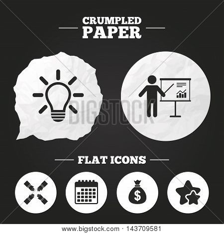 Crumpled paper speech bubble. Presentation billboard icon. Dollar cash money and lamp idea signs. Man standing with pointer. Teamwork symbol. Paper button. Vector