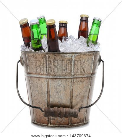 Beer Bottles in an old fashioned ice bucket.
