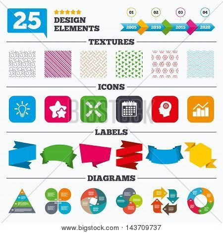 Offer sale tags, textures and charts. Lamp idea and head with gear icons. Graph chart diagram sign. Teamwork symbol. Sale price tags. Vector
