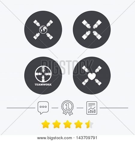 Teamwork icons. Helping Hands with globe and heart symbols. Group of employees working together. Chat, award medal and report linear icons. Star vote ranking. Vector