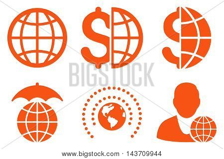 Global Business vector icons. Pictogram style is orange flat icons with rounded angles on a white background.