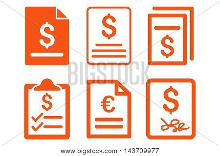 Invoice vector icons. Pictogram style is orange flat icons with rounded angles on a white background.
