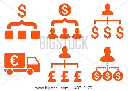 Payment Collector vector icons. Pictogram style is orange flat icons with rounded angles on a white background.