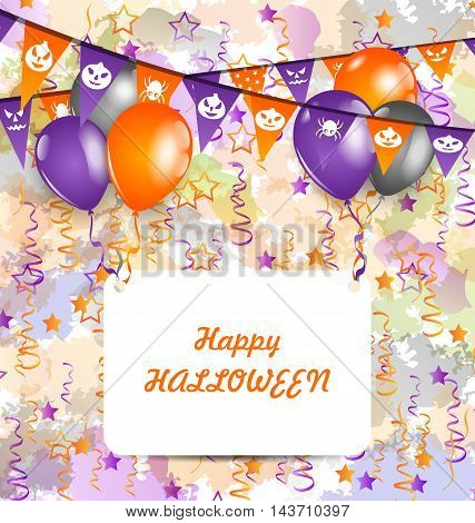 Illustration Halloween Decoration Bunting Pennants, Balloons with Celebration Card - Vector