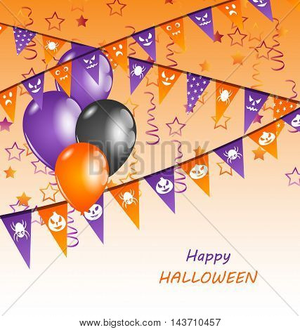 Illustration Hanging Flags and Balloons for Happy Halloween Party - Vector