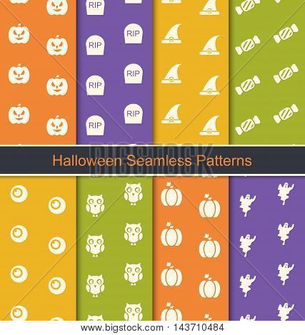 Illustration Set Seamless Abstract Patterns with Halloween Symbols - Vector