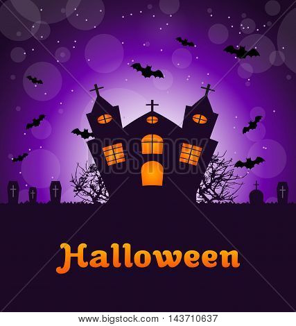 Illustration Halloween Greeting Card with Castle, Bats, Cemetery. Advertising Flyer for Party - Vector
