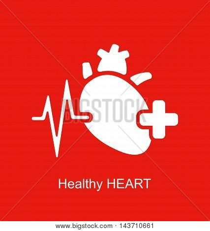 Healthy Heart icon on white background - vector