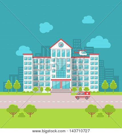 Illustration City Hospital Building with Ambulance in Flat Style. Cityscape - Vector