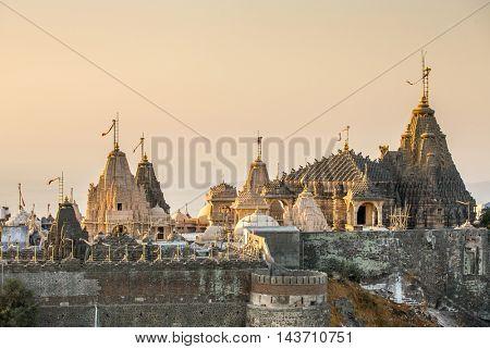Jain temples on top of Shatrunjaya hill. Palitana (Bhavnagar district), Gujarat, India