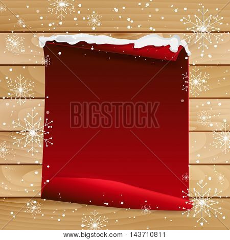 Red Paper With Bent Corner On Wooden Background With Snowflakes