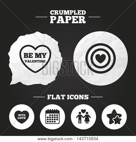 Crumpled paper speech bubble. Valentine day love icons. Target aim with heart symbol. Couple lovers sign. Paper button. Vector