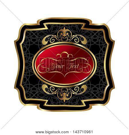 Illustration ornate decorative golden frame label - vector