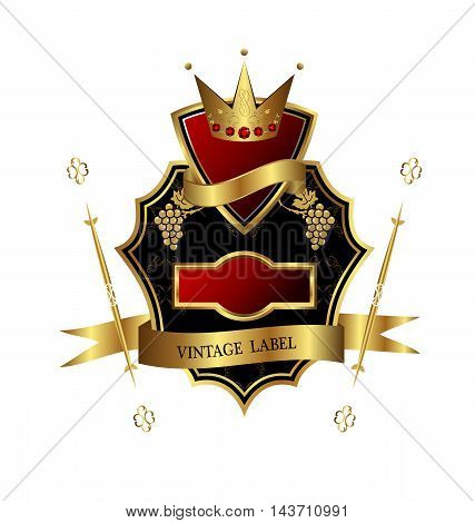 Illustration of black golden label for design heraldic or packing wine isolated on white background - vector