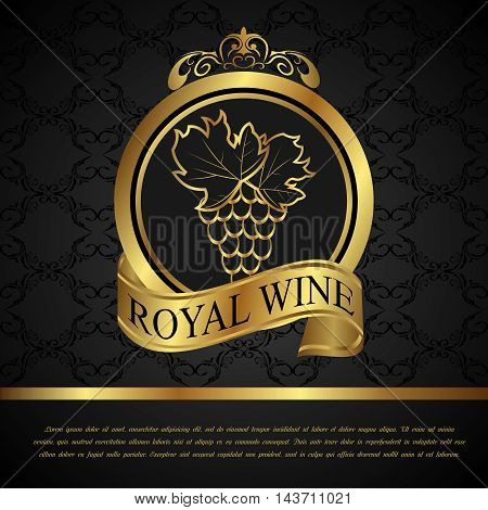 Illustration golden label for packing wine - vector