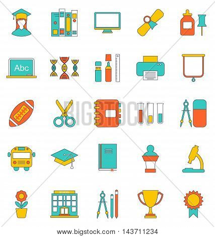 Illustration Set Flat Line Icons of School Equipment and Tools. Modern Trend Design. Objects Isolated on White Background - Vector