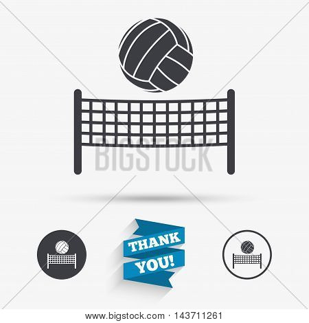 Volleyball net with ball sign icon. Beach sport symbol. Flat icons. Buttons with icons. Thank you ribbon. Vector