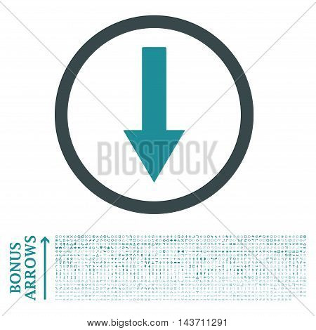 Down Rounded Arrow icon with 1200 bonus arrow and navigation pictograms. Vector illustration style is flat iconic bicolor symbols, soft blue colors, white background.
