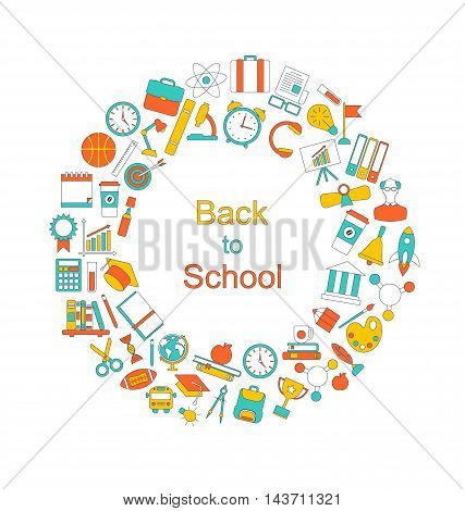 Illustration Background for Back to School, Education Simple Colorful Objects, Line Art Style - Vector