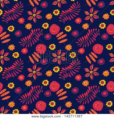Abstract happy Seamless vector abstract pattern with abstract flowers, plants, petals on dark-blue background. Colorful childish style flowers. Romantic elements for wedding invitations, birthday