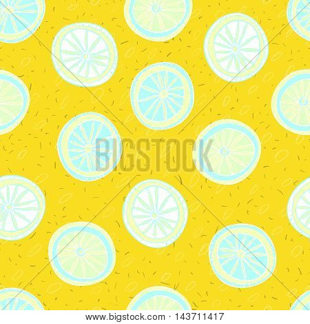 Lemon's wheelsHand-drawn lemon's slices like wheels on yellow textured background