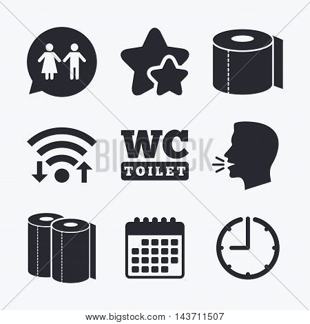 Toilet paper icons. Gents and ladies room signs. Paper towel or kitchen roll. Man and woman symbols. Wifi internet, favorite stars, calendar and clock. Talking head. Vector