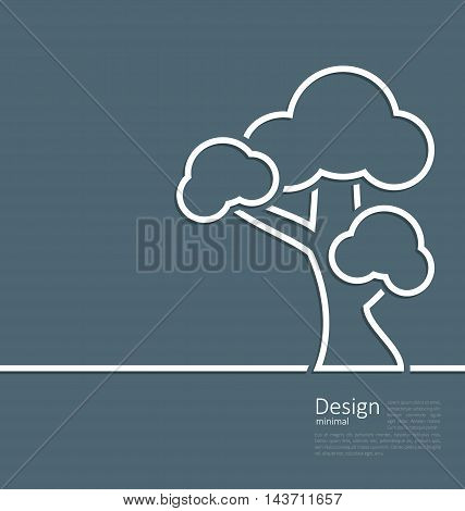 Illustration tree standing alone symbol, design webpage, logo template corporate style layout - vector