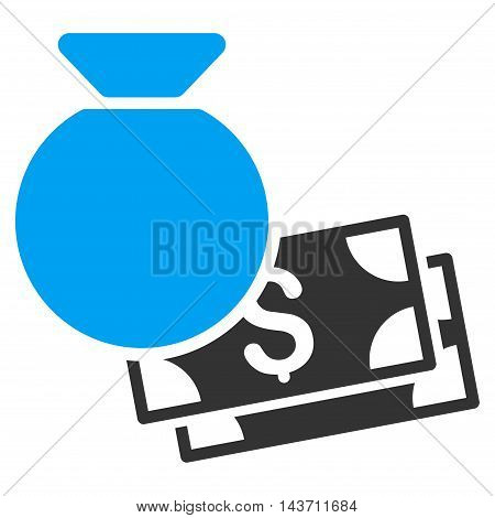 Money Bag icon. Glyph style is bicolor flat iconic symbol with rounded angles, blue and gray colors, white background.