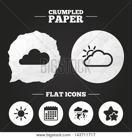 Crumpled paper speech bubble. Weather icons. Cloud and sun signs. Storm or thunderstorm with lightning symbol. Gale hurricane. Paper button. Vector