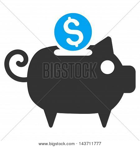 Piggy Bank icon. Glyph style is bicolor flat iconic symbol with rounded angles, blue and gray colors, white background.