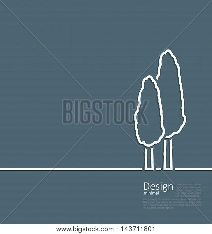 Illustration logo of cypresses in minimal flat style line - vector