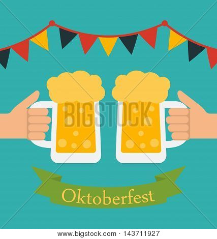 Illustration Advertise Flyer with Decoration for Oktoberfest Party, Modern Flat Style - Vector