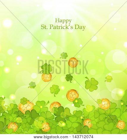 Illustration light background with clovers and coins for St. Patrick's Day - vector