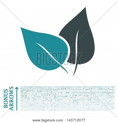 Flora Plant icon with 1200 bonus arrow and direction pictograms. Vector illustration style is flat iconic bicolor symbols, soft blue colors, white background.