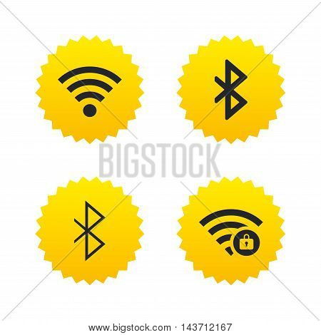 Wifi and Bluetooth icons. Wireless mobile network symbols. Password protected Wi-fi zone. Data transfer sign. Yellow stars labels with flat icons. Vector