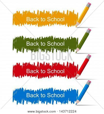 Illustration Set of Colored Banners with Pencils, Back to School - Vector